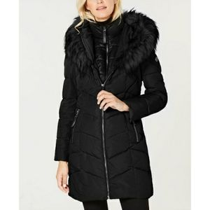 Calvin Klein Hooded Faux Fur Trim Puffer Jacket